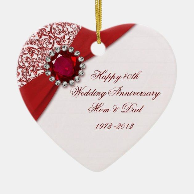 40th Wedding Anniversary Ornament  Zazzlecom