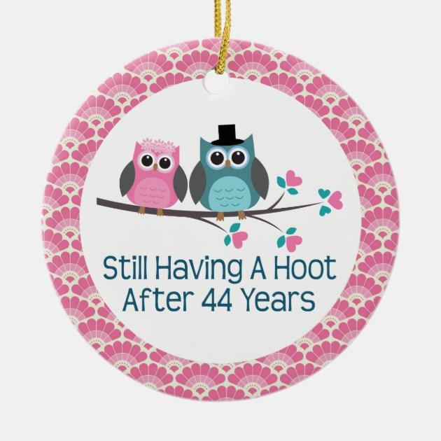 44th Anniversary Owl Wedding Anniversaries Gift Ceramic