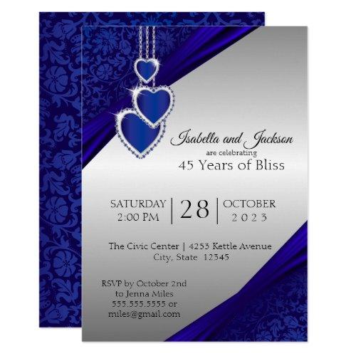 45th / 65th Sapphire Silver Anniversary Design Invitation