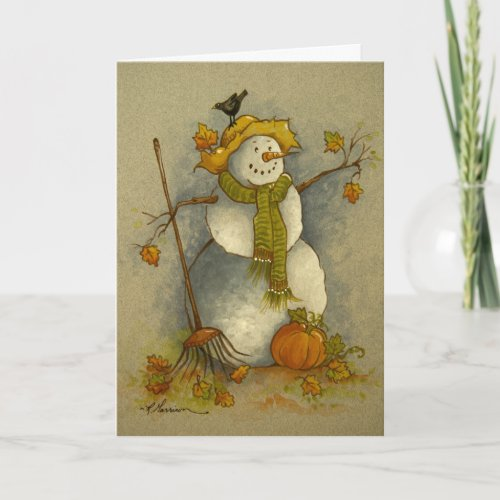 4878 Harvest Snowman Halloween Greeting Card