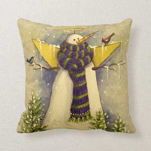4881 Snow Angel & Birds Christmas Throw Pillow