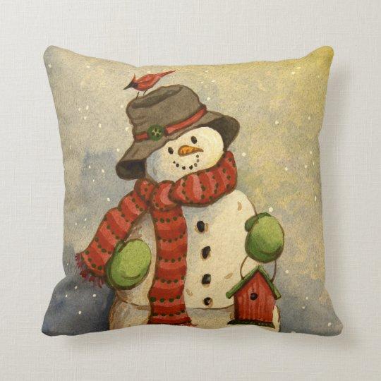 4905 Snowman  Birdhouse Christmas Throw Pillow  Zazzlecom
