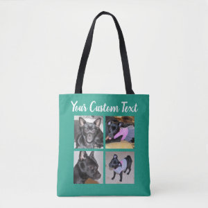 4 Photo Collage | Dog Green Tote Bag