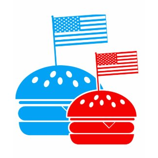 4th July - Independence Day - American Flag Burger shirt