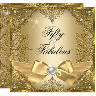 50 Fabulous Gold Pearl Bow 50th Birthday Invitation