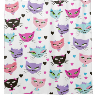 50s Retro Kitty Sexy Cat Bathroom Shower Curtain