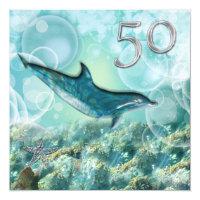 50th beach tropical birthday party card