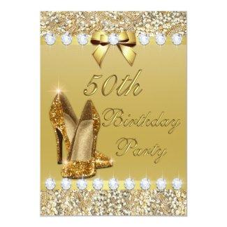 50th Birthday Classy Gold Heels Sequins Diamonds 5x7 Paper Invitation Card