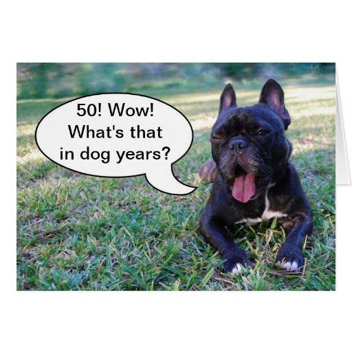 50th Birthday Dog Years French Bulldog Card Zazzle