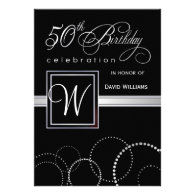 50th Birthday Party Invitations - Silver Monogram