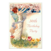 50th Birthday Vintage Fairy Blossom Card