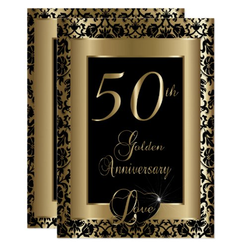 50th Golden Wedding Anniversary Design Invitation