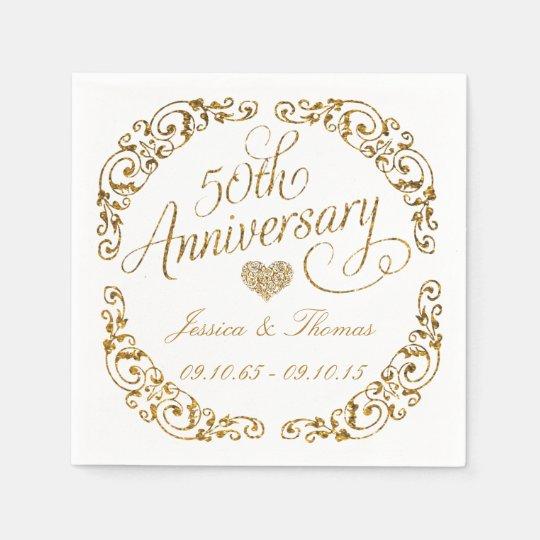 50th Golden Wedding Anniversary Paper Napkins  Zazzlecom