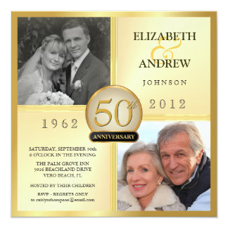 Gold Light 50th Anniversary Invitation Card