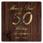 50th Wedding Anniversary Golden Wedding Parents Square Wall Clock