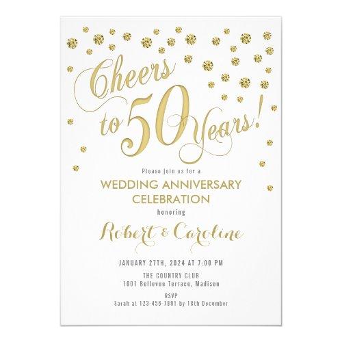 50th Wedding Anniversary Invitation - Gold & White