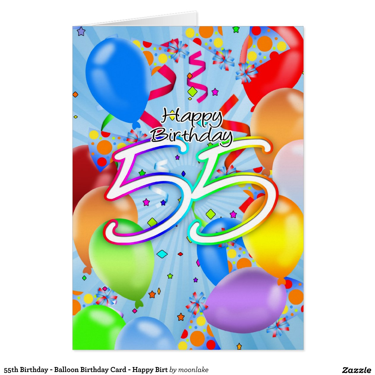 55th Birthday Balloon Card Happy Birt