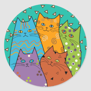 5 Retro Funny Cats Stickers