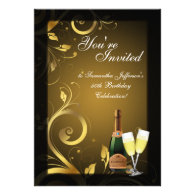 5x7 Black and Gold Swirl, Custom Birthday Party Custom Invites