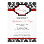 5x7 CrimsonRed Damask Sweet 16 Birthday Invitation