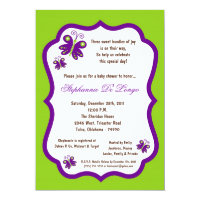 5x7 Electric Green Butterfly Baby Shower Card