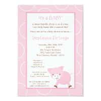 5x7 Farm Animal Pink Pig Baby Shower Invitation