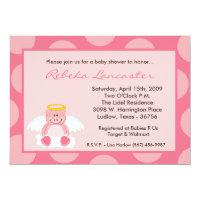 5x7 Girl Pink Polka Dot Pig Baby Shower Invitation