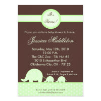 5x7 Green Twin Mod Elephant Baby Shower Invitation