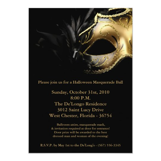 5x7 Halloween Masquerade Ball Mask Invitation Zazzle Com