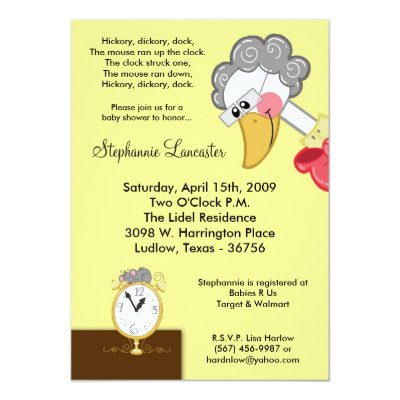 Hickory Dickory Dock Nursery Baby Shower Invitation