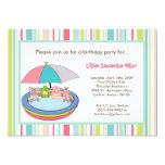 ❤️ Cute Animal Safari (with pig) Pool Birthday Party Invitation