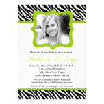 5x7 Lime Zebra PHOTO Sweet 16 Birthday Invitation