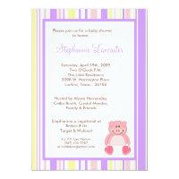 5x7 Pink Girl Pig ZooAnimal Baby Shower Invitation
