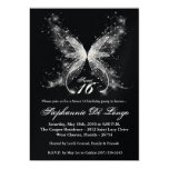 5x7 Sheer Butterfly Sweet 16 Birthday Invitation