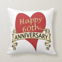 60th. Anniversary Throw Pillow | Zazzle