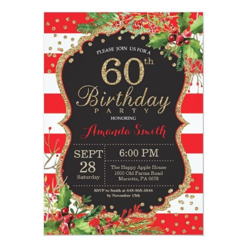 60th Birthday Invitation. Christmas Red Black Gold Invitation