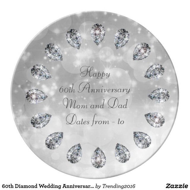 60th Diamond Wedding Anniversary Personalized Porcelain Plate