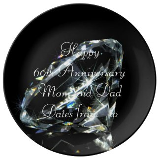 60th Wedding Anniversary Diamond Personalized Porcelain Plate