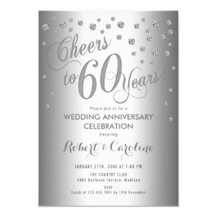 60th Wedding Anniversary Invitation Silver White