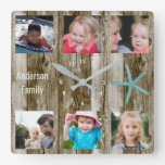 6 Photo Collage Beach Plank Square Wall Clock