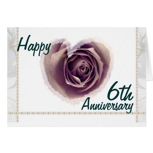6th Wedding Anniversary  Purple Rose Heart Card  Zazzle