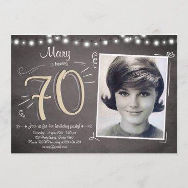 70 Birthday Invitation Vintage Seventy Rustic