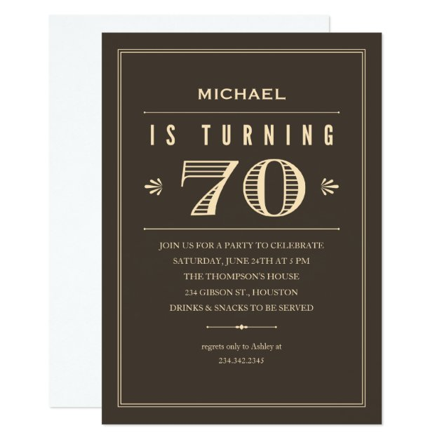 70th Birthday Invitations For Men Zazzle