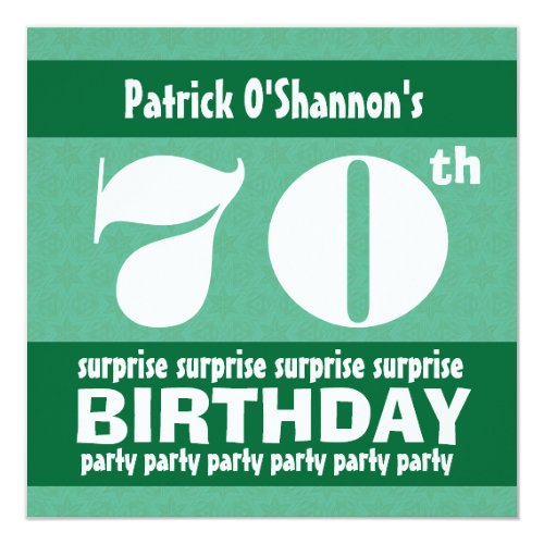 70th SURPRISE  Birthday Party Pink Stars B418 Invitation