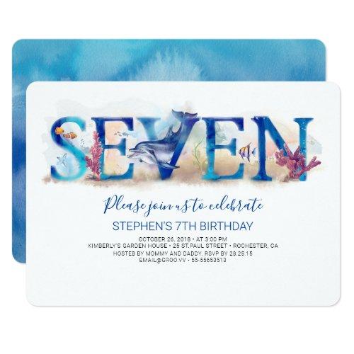 7 Birthday Invitation Deep Blue Under the Sea Life