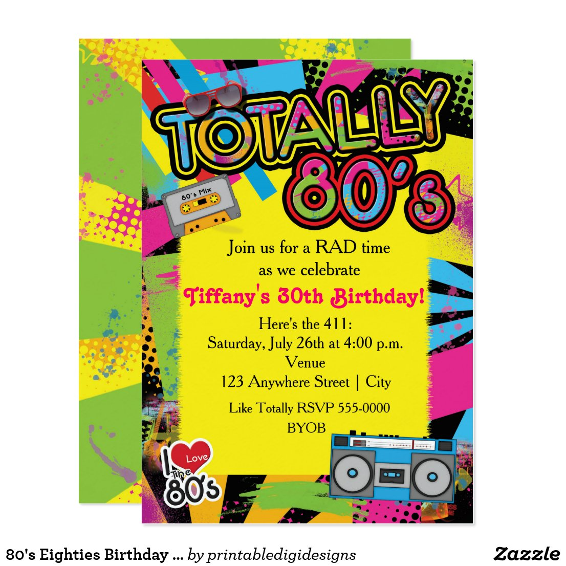 1980 s party invitations retro invites