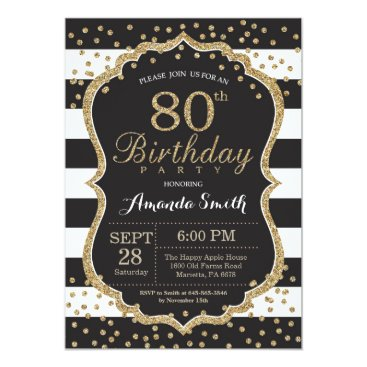 80th Birthday Invitation. Black and Gold Glitter Card