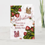 80th Birthday Party - Butterfly And Strawberry Inv Invitation (also available in other years)