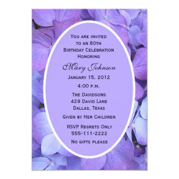 80th Birthday Party Invitation Hydrangeas
