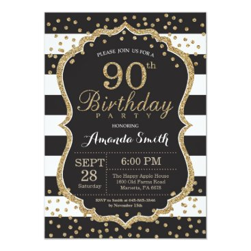 90th Birthday Invitation. Black and Gold Glitter Card